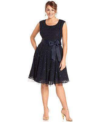 Betsy & Adam Plus Size Dress, Sleeveless Sequined Lace ...