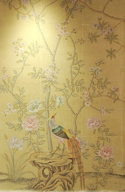 hand painted wallpaper :: chinoiserie wallpaper :: silk wallpaper ::  chinese wallpaper :