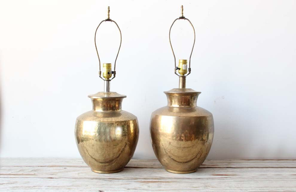 Pair Of Hammered Brass Lamps