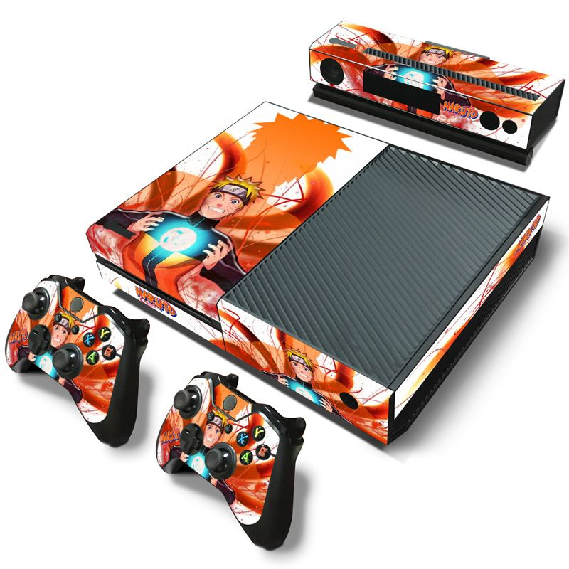 Naruto pvc skin sticker for xbox one console 2 pcs controller skin kinect skin