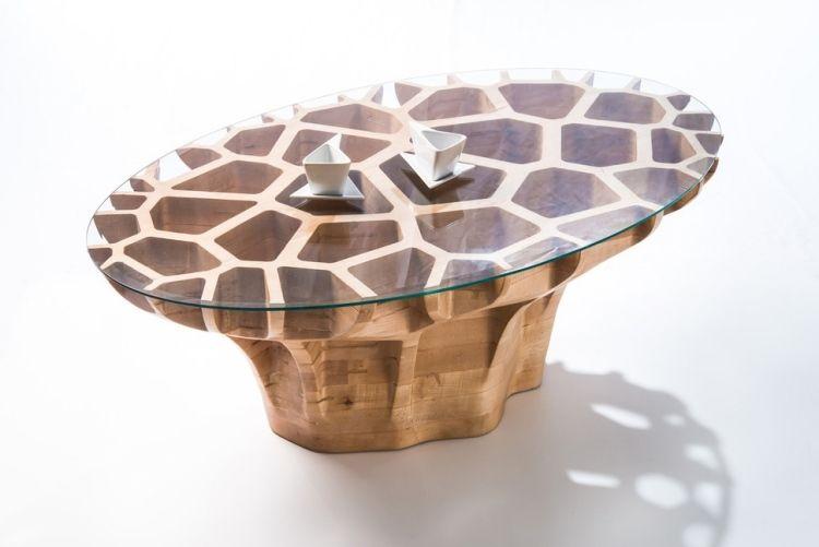 Designer Couchtische Mesa M3 Javier Olmeda Holz Glas