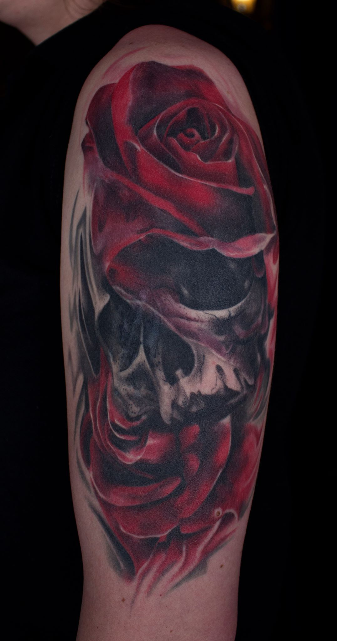 Skull And Rose Tattoo By Vlad Availability At Holy Trinity Tattoo Studio Skull Rose Tattoos Tattoos Rose Tattoo Thigh