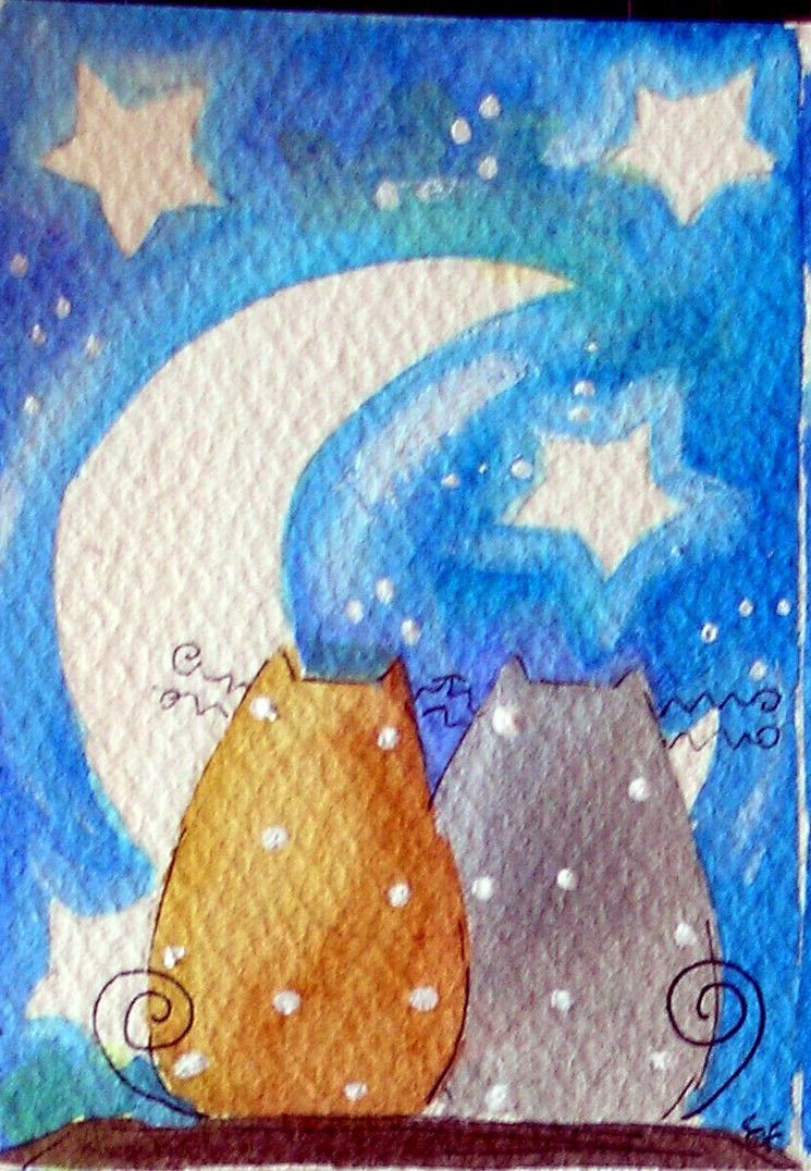 Original Watercolor ACEO Cats Moon Night Stars