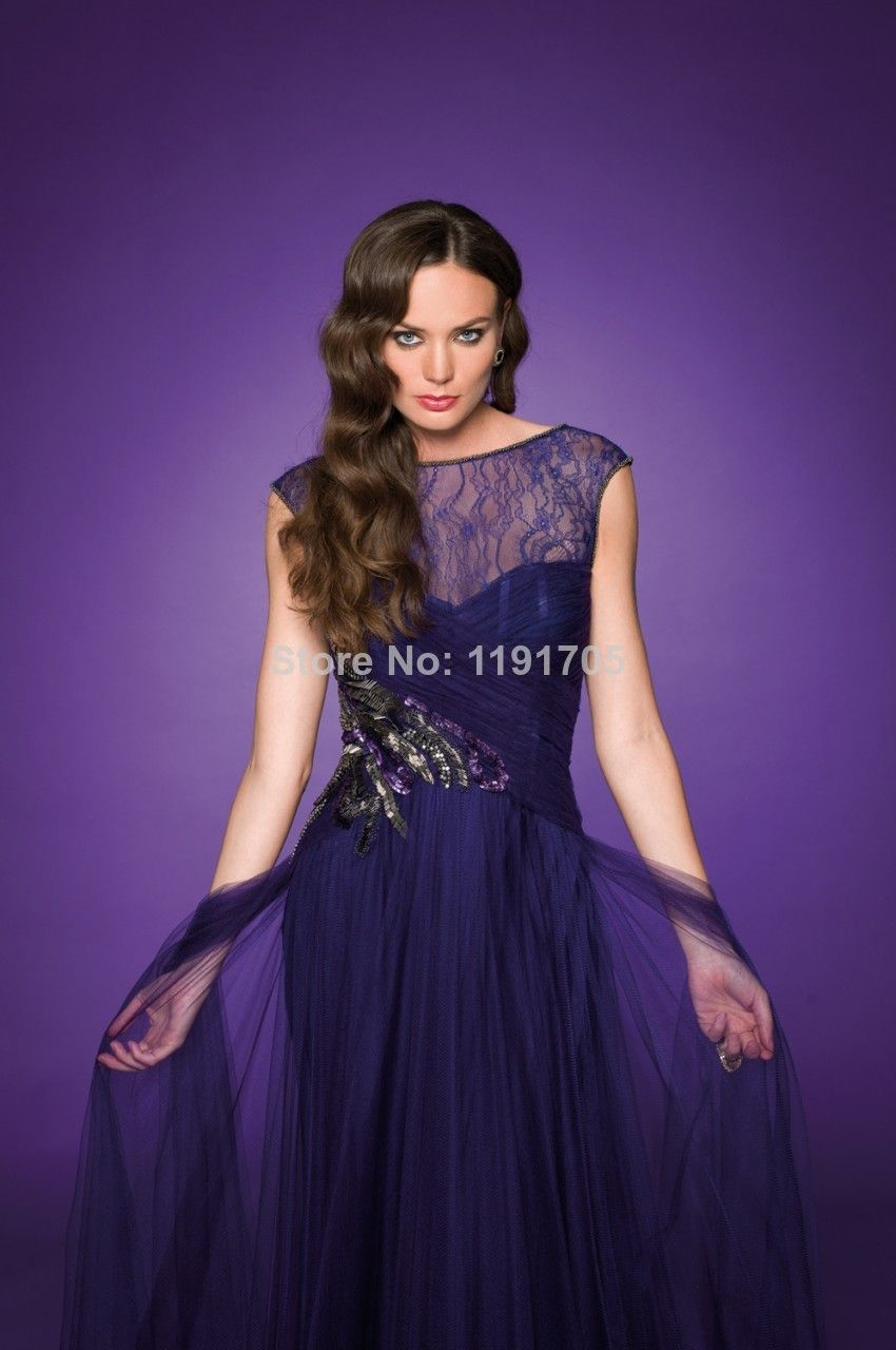 Charming purple evening dresses with high see through cap sleeves