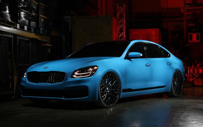 Download Wallpapers Kia K900 2018 Blue Luxury Sedan Blue K900 Tuning K900 Korean Luxury Cars Kia Besthqwallpapers Com In 2020 Kia Motors Kia Kia Stinger