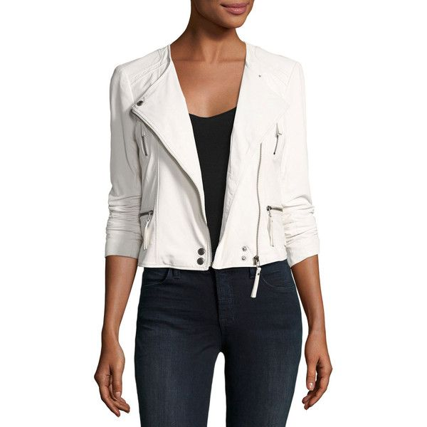 Joie Beline Leather Moto Jacket (46,965 DOP) ❤ liked on Polyvore featuring outerwear, jackets, porcelain, white moto jackets, motorcycle jacket, leather biker jacket, white motorcycle jacket and white jacket