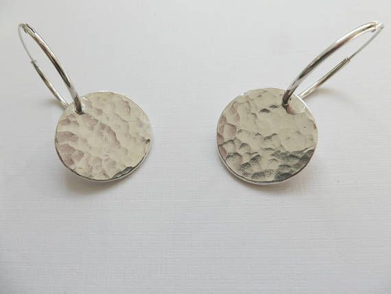 Silver Disc Earrings Fine Hammered