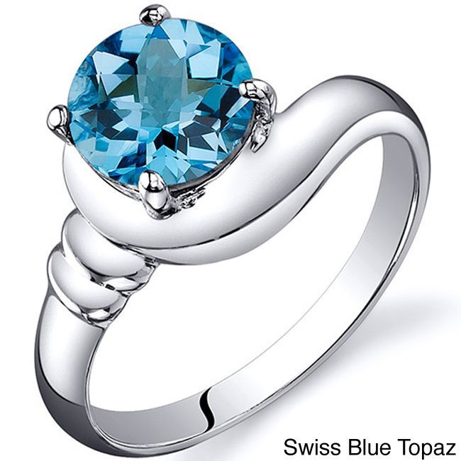 Oravo Sterling Silver Round Gemstone Solitaire Ring (Swiss Blue Topaz Size 8), Women's