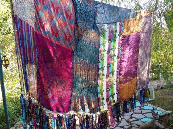 Boho meditation vintage scarves Gypsy patchwork fringe ...