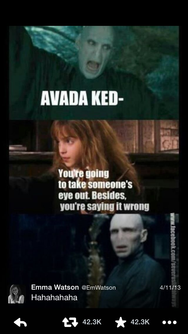 Emma Watson Posted This On Twitter Hahaha Which Makes It Ten Times Funnier Hermione And Voldemo Harry Potter Jokes Funny Harry Potter Jokes Harry Potter Funny