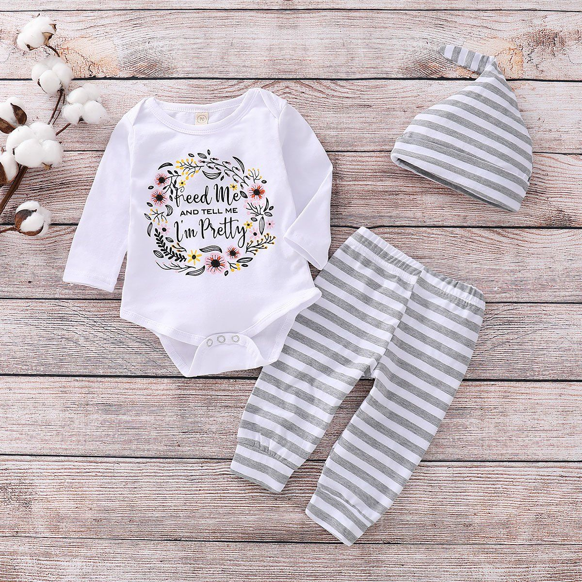 Toddler Baby Boys Long Sleeve Striped Print Romper Jumpsuit Clothes Outfit Sets