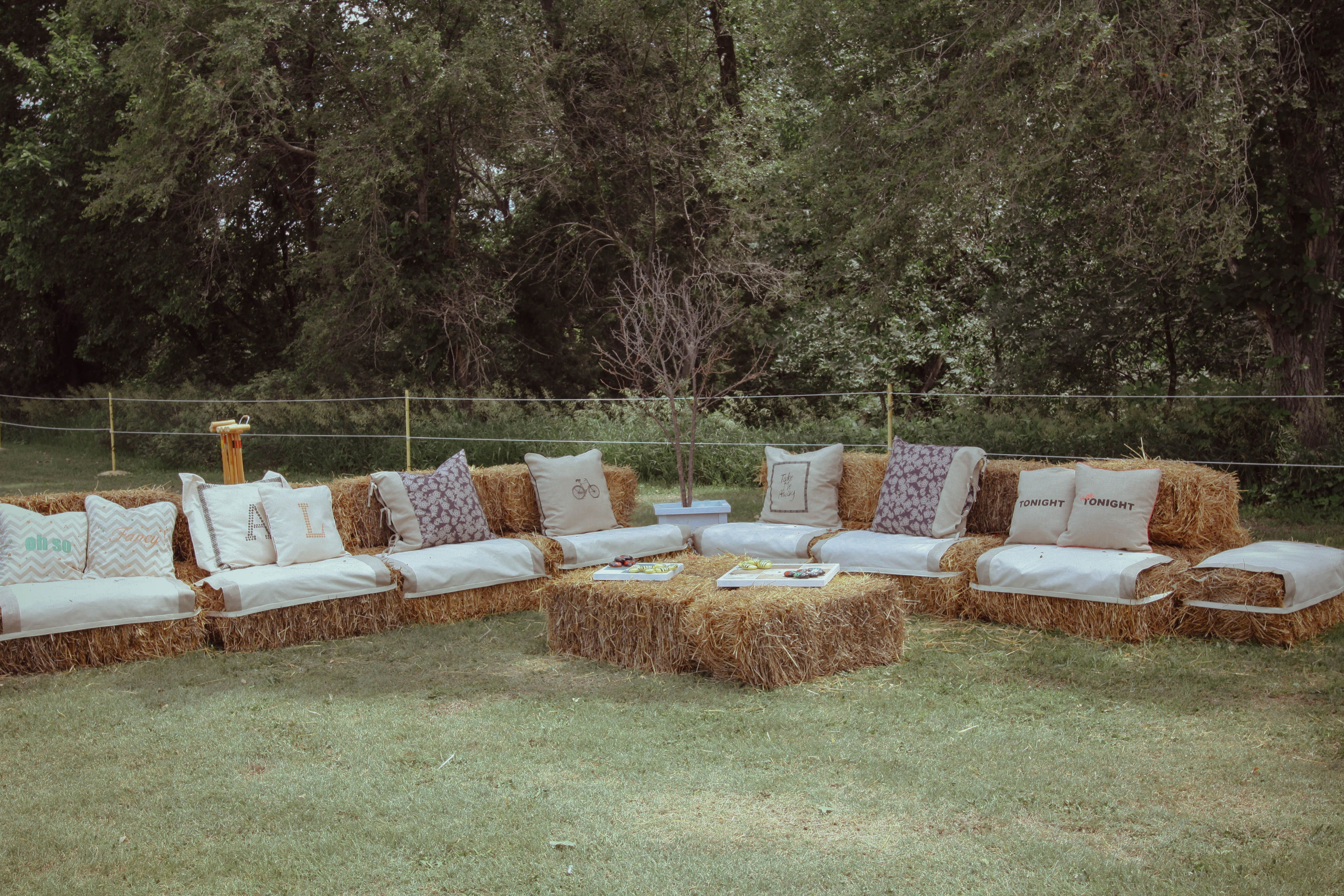 Hay Bale Wedding Seating Hay Bale Couch by Linda Glassman