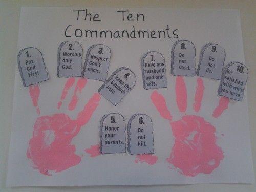 Ten commandment hand prints bible activity | Sunday school | Bible