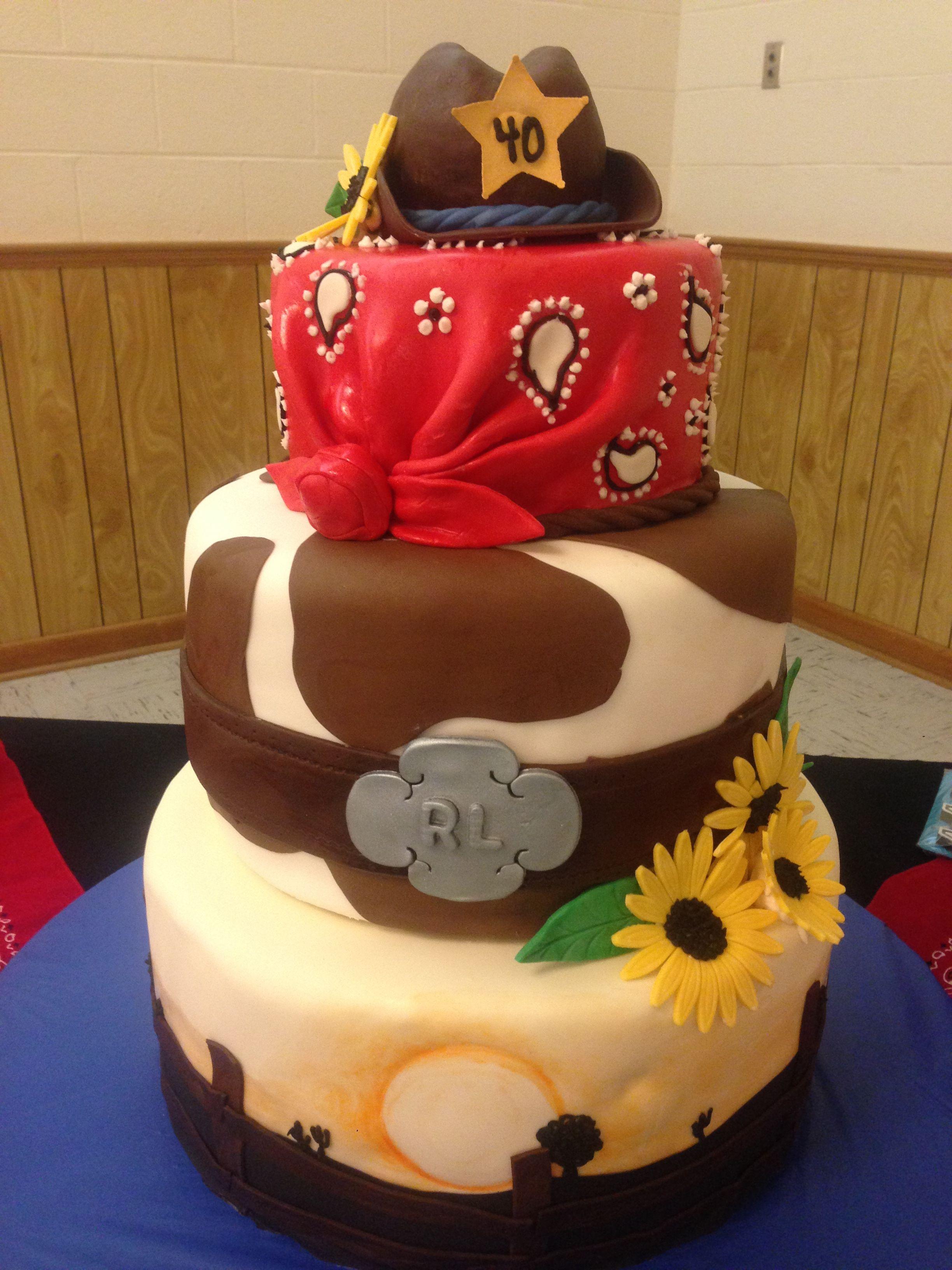 Cow Girl Birthday Cake For Rachel Lees 40th Birthday Cowboy Hat
