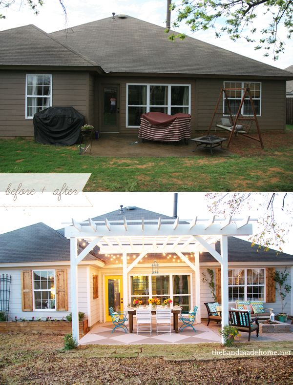 Back Yard Bliss Patio Makeover Painted Patio Backyard Makeover