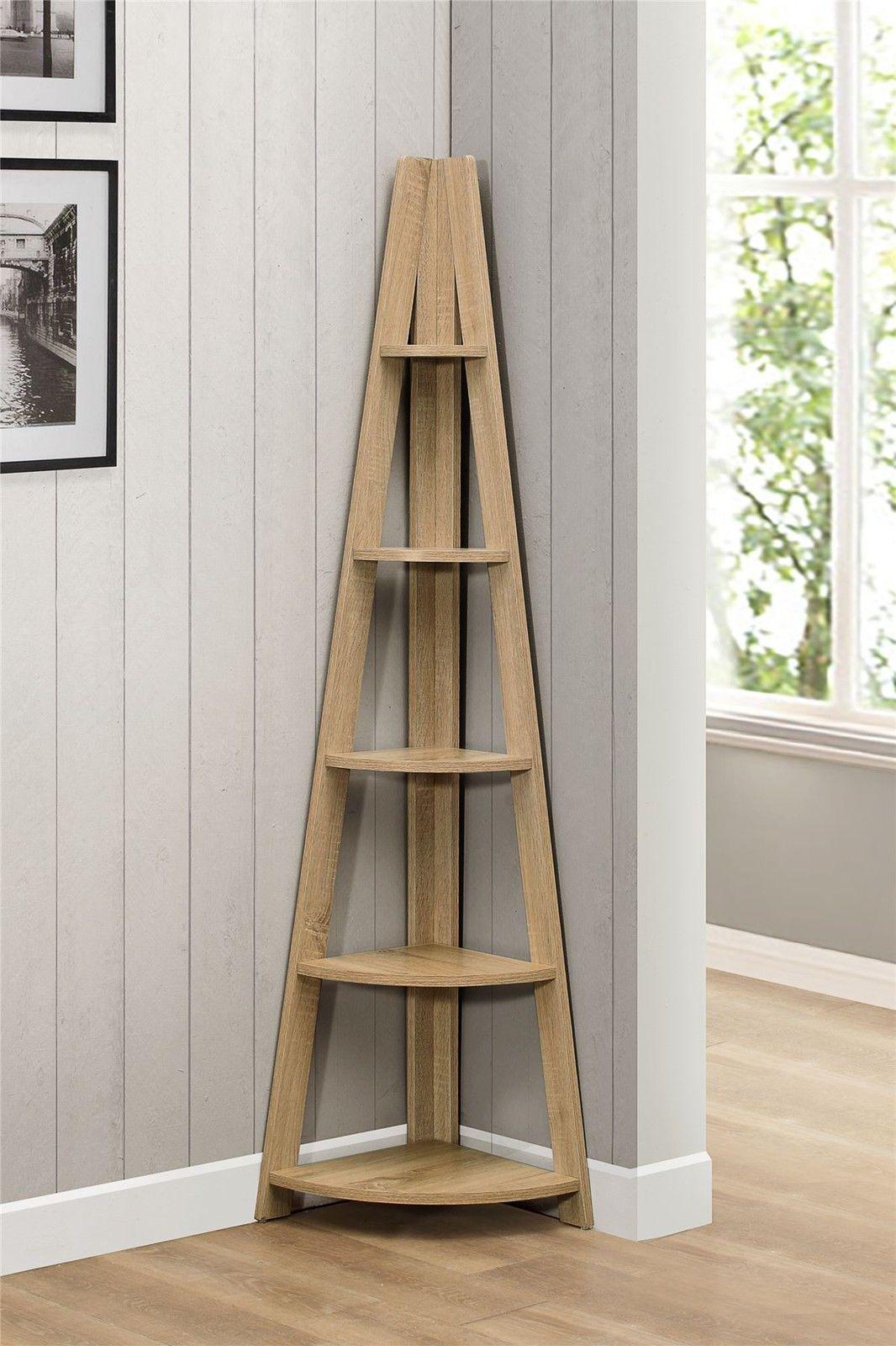 98feffdaf89f Birlea Nordic Scandinavian Retro Corner Ladder Bookcase Shelving Shelf Unit  Oak | eBay
