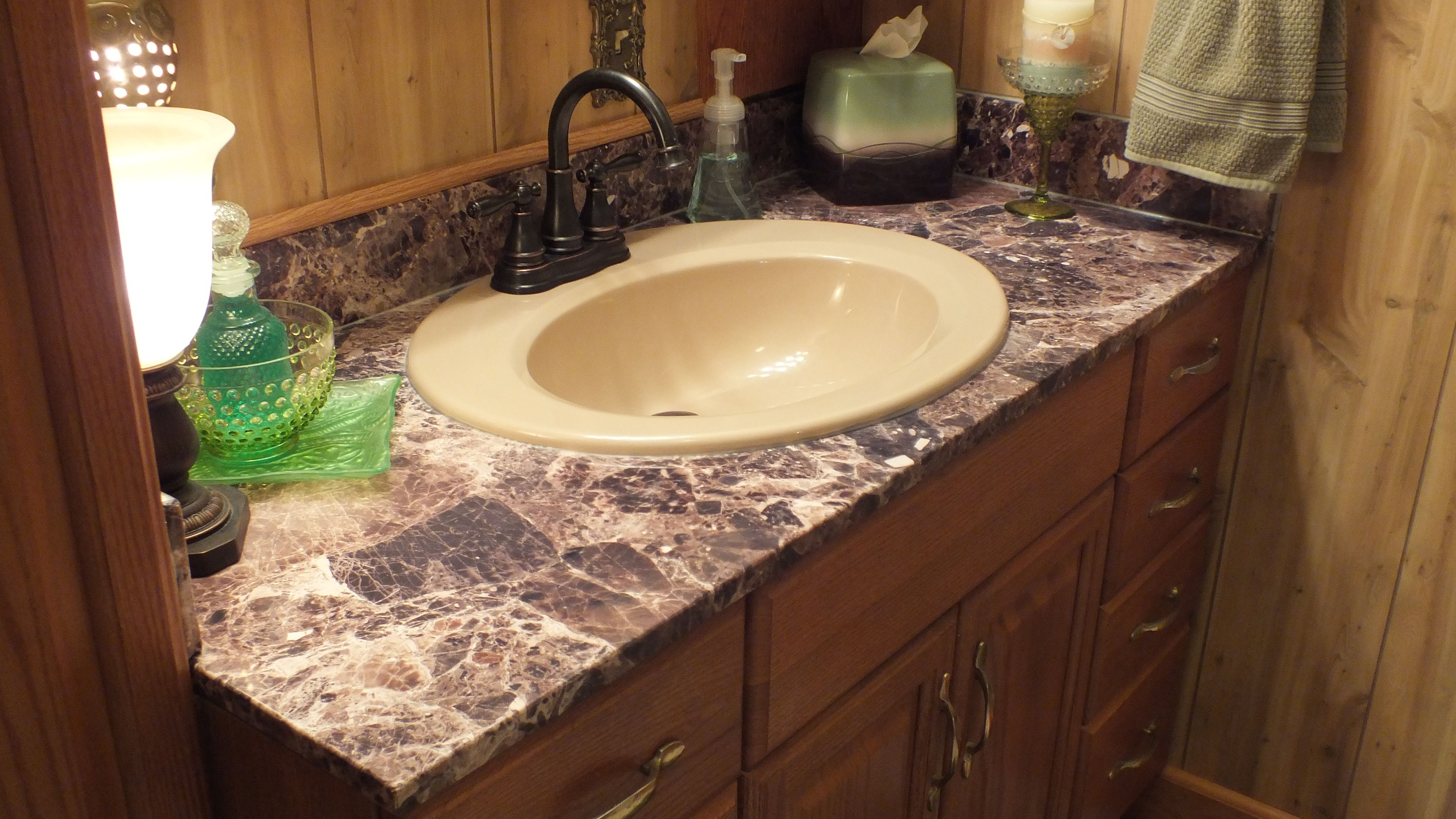 Just Installed! Beautiful Breccia Paradiso Vanity Top with