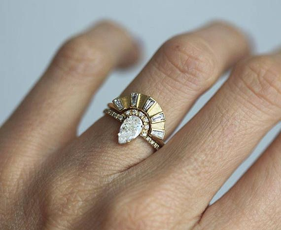 Photo of Halo Moissanite Diamond Ring Set in 14k 18k Solid Gold with Matching Band and Di…
