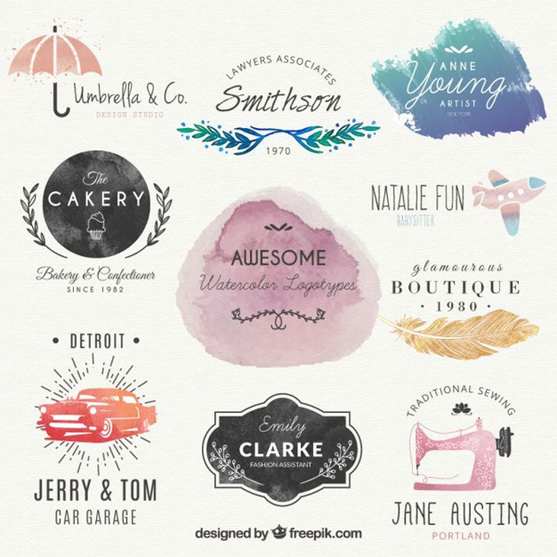 10 Free Templates Mockups For Creating Awesome Logo Designs Watercolor Logo Best Logo Design Logo Design Free