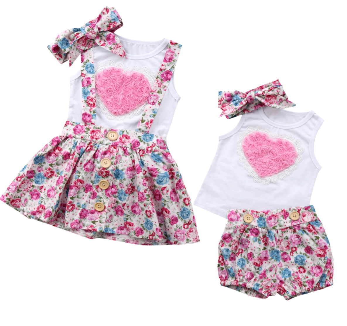 "Baby Girls Tops Skirt Suits Twins Toddler /""Little Sister/"" Print Chothes Outfits"