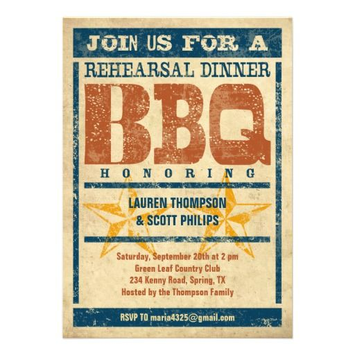 Vintage rehearsal dinner BBQ invitation Perfect for a casual get - invitation for a get together