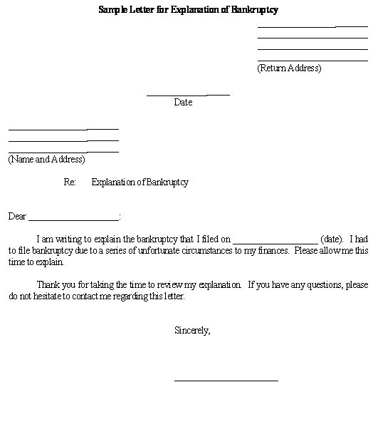 Sample Letter for Explanation of Bankruptcy template Business - affidavit letter format