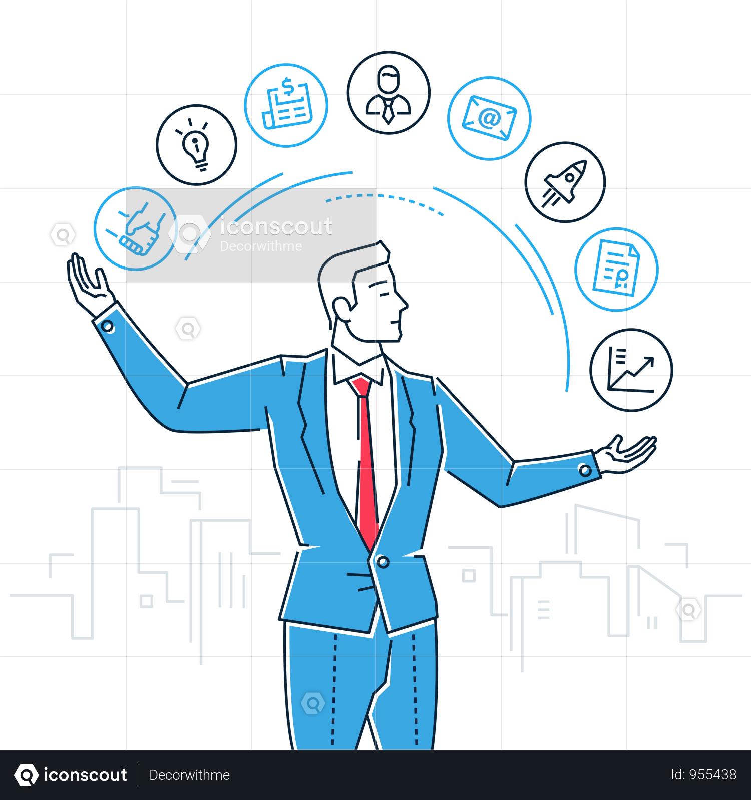 Premium Time Management Line Design Style Isolated Illustration Illustration Download In Png Vector Format Line Design Flat Design Illustration Illustration