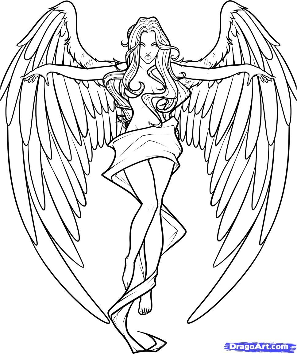 anime angel lineart coloring pages pinterest anime angel