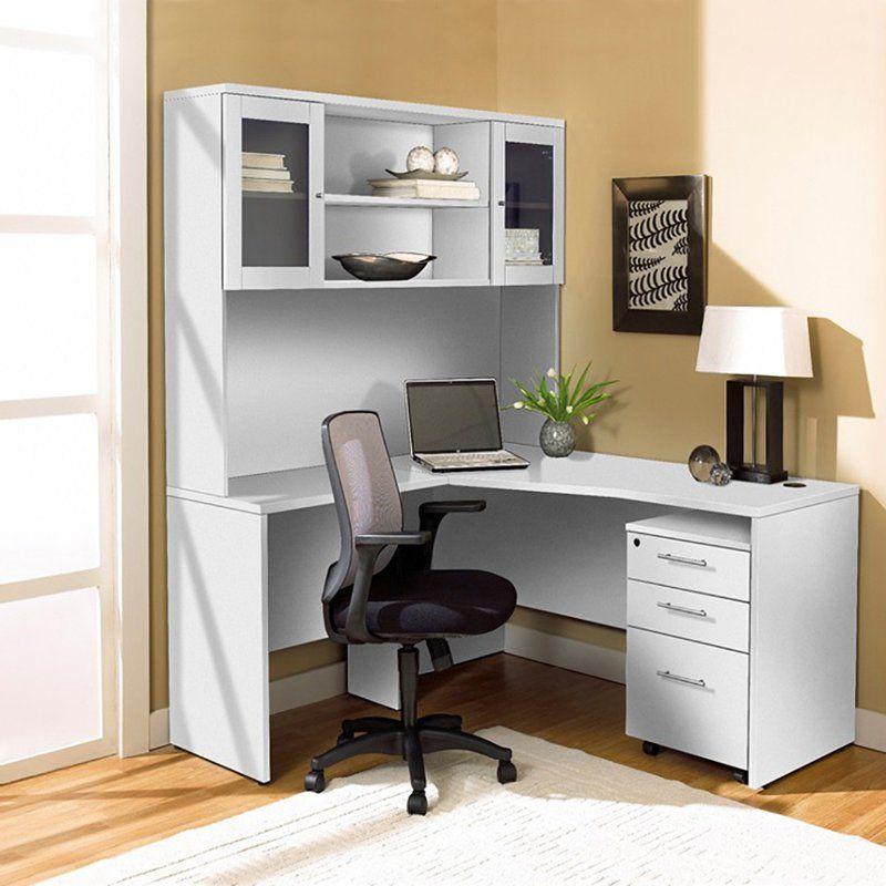 Unique Furniture 100 Collection Corner L Shaped Desk With Hutch And