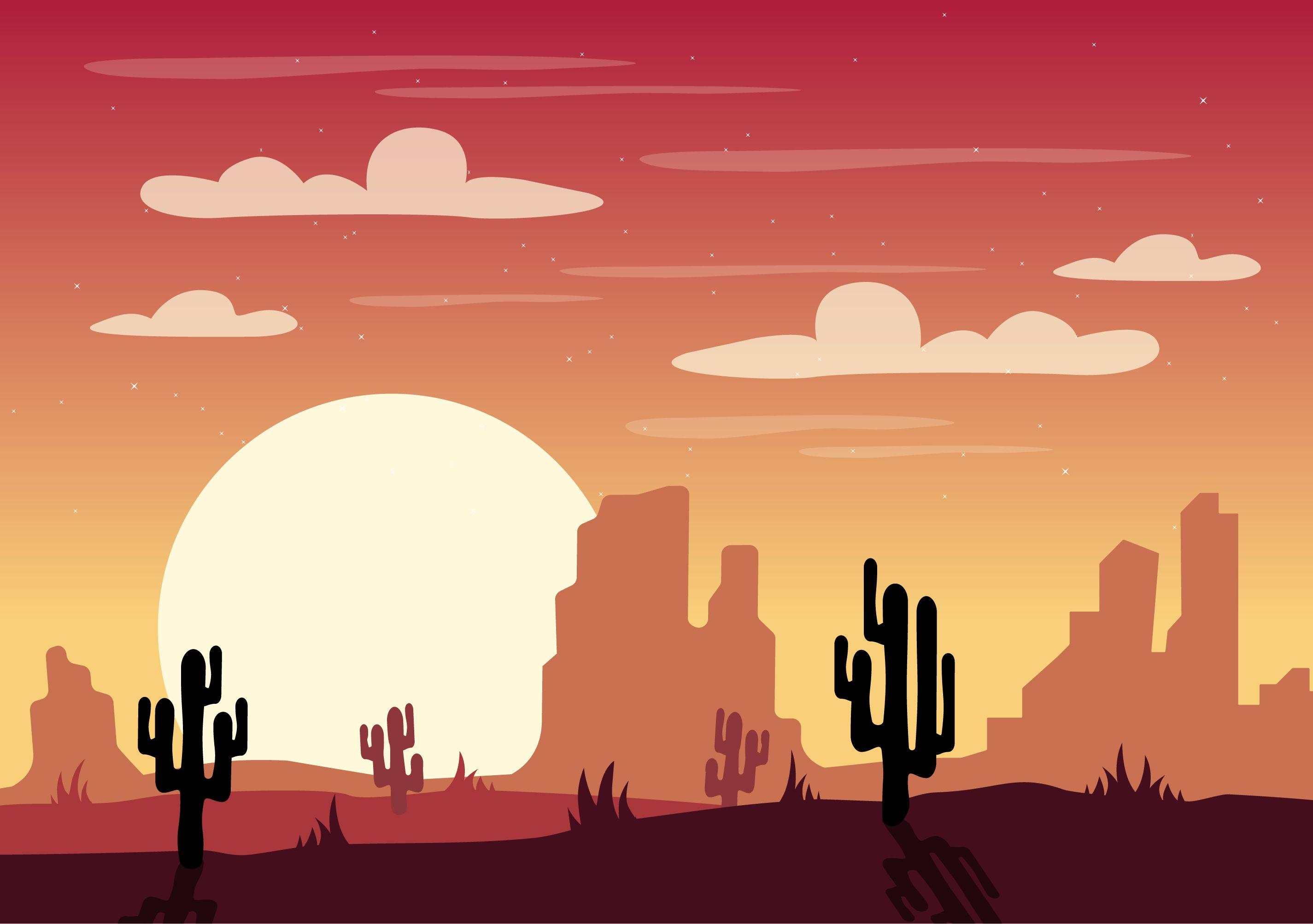 Vector Desert Landscape Illustration Landscape Illustration Desert Art Vector Art Illustration