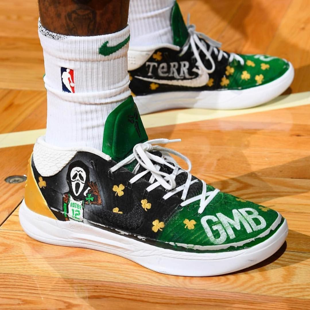 "c9db0aa44491 Terry Rozier helped his Celtics close out the 76ers tonight while wearing a  custom ""Scary Terry"" Nike Kobe AD Mid.  KicksOnCourt  NiceKicks…"