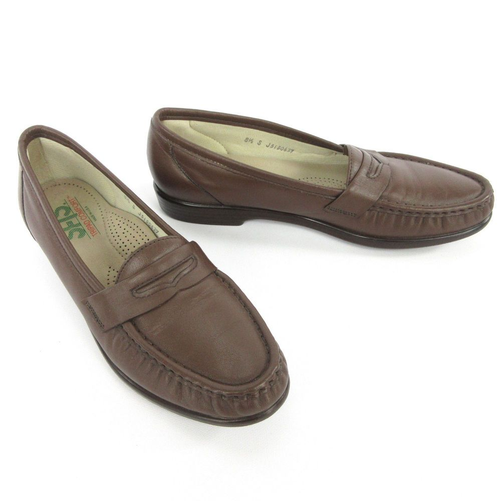 Sas Brown Leather Moccasin Toe Penny Loafers Slip Ons Shoes Womens 6 N