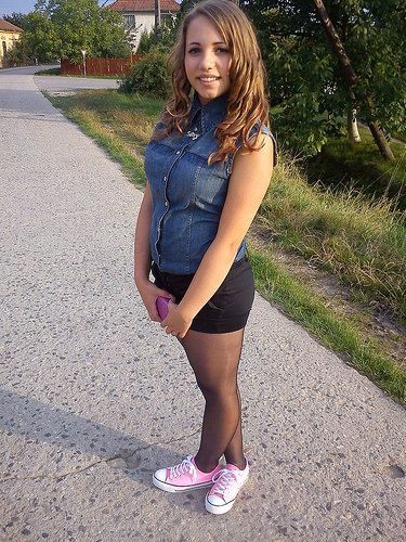 teen model in nylons