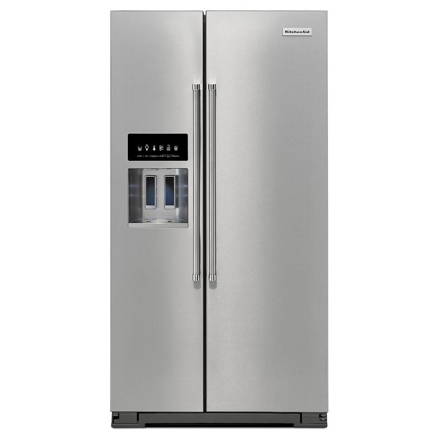Kitchenaid 24 8 Cu Ft Side By Side Refrigerator With Ice Maker Stainless Steel Energy Star Lowes Com Side By Side Refrigerator Refrigerator Stainless Steel Refrigerator