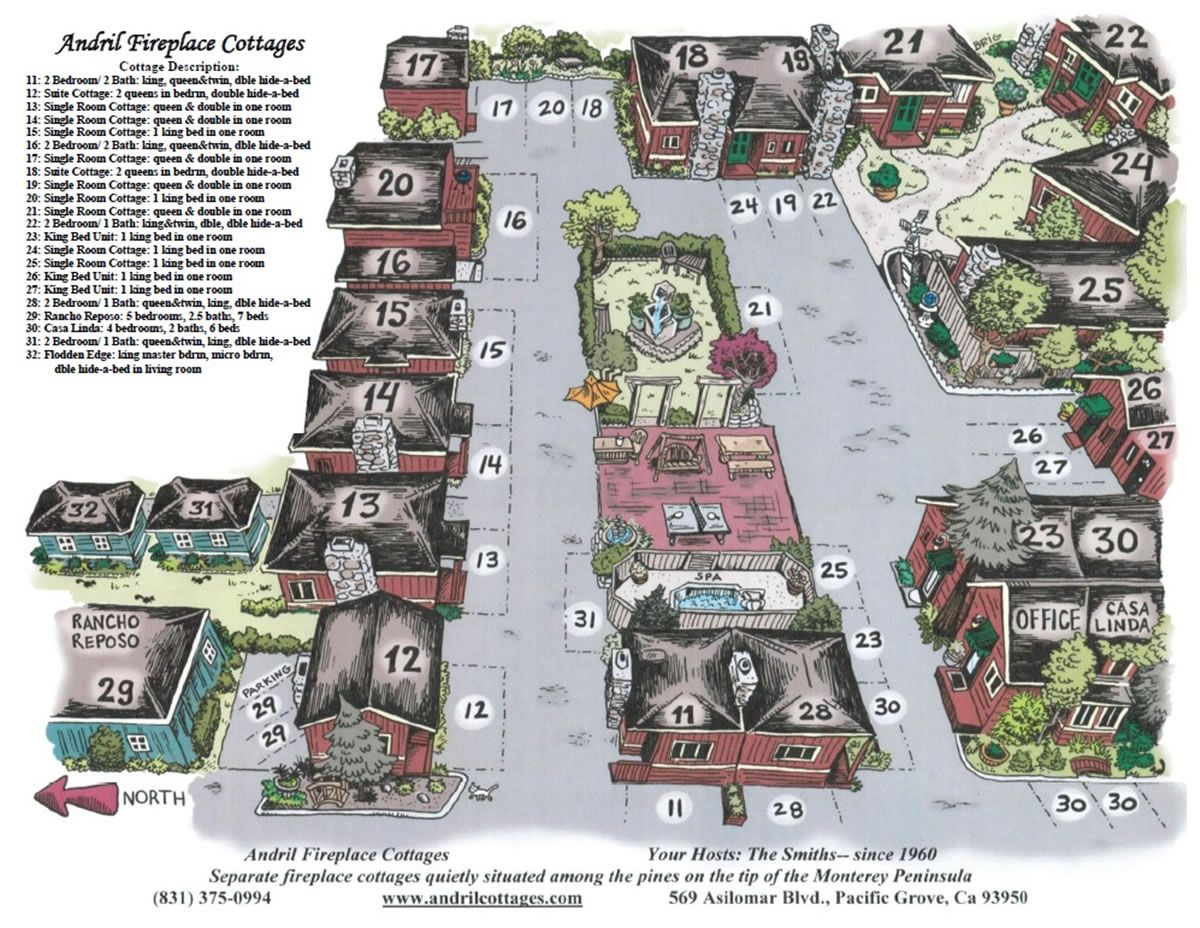Andril Fireplace Cottages Map With Images Cottage Pacific Grove
