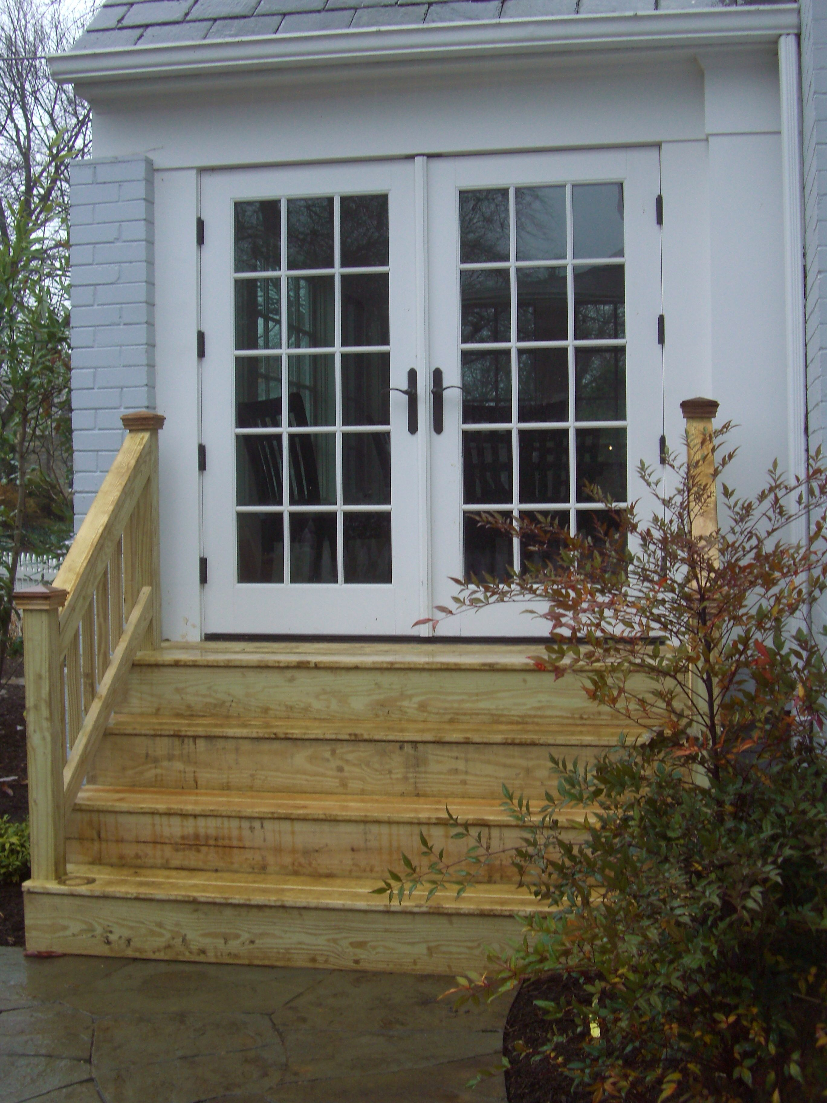 Wood Steps To French Doors Patio Stairs Patio Steps Patio | Outside Steps For House | Front Door | Entryway | Decorative | Ranch Style House | Beautiful
