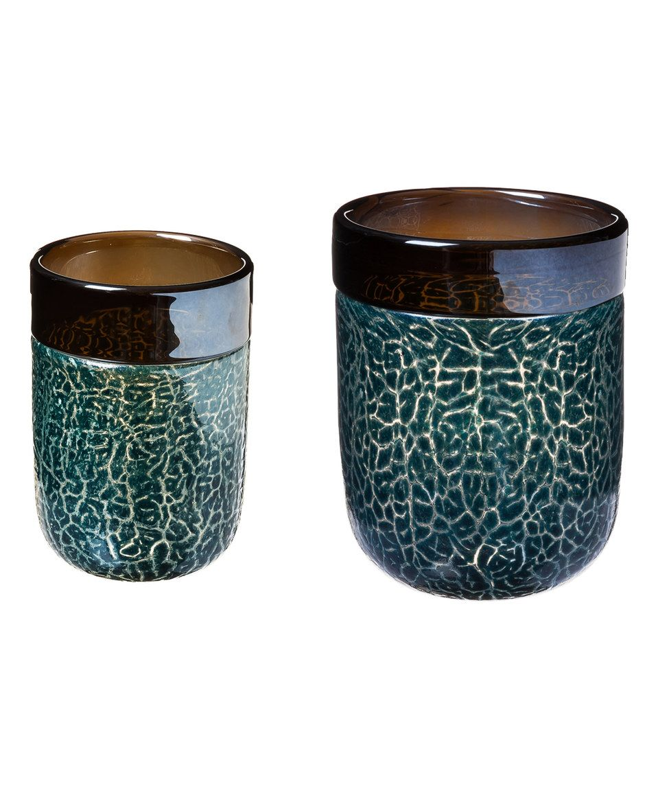 Love this Blue Luster Glass Candle Holder - Set of Two by Evergreen on #zulily! #zulilyfinds