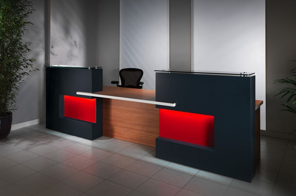 furniture furniture counter idea black wood office. Black Color With Orange Led And Brown Wood Combine Reception Desk Ideas Rotating Chair At Wonderful Decoration : Beautiful Decorating Furniture Counter Idea Office S