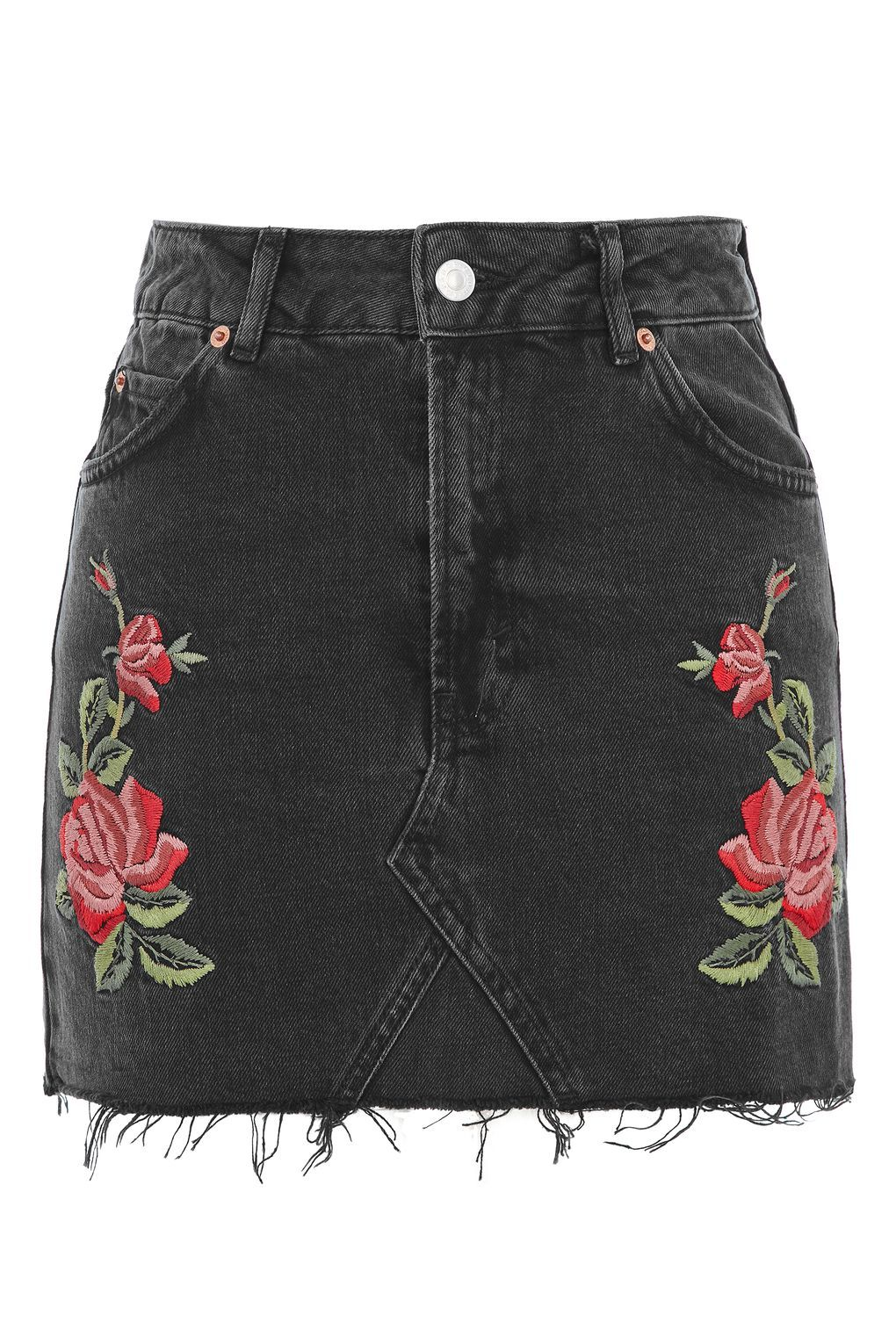 b8a0a0b87 TALL Rose Embroidered Skirt in 2019 | topshop | Black denim skirt ...