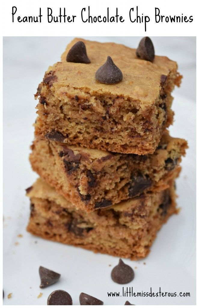 YUM. These Peanut Butter Chocolate Chip Brownies are the perfect treat!  Is there really any other perfect combination?  Besides their taste, they are fluffy, cakey, and chocolatey! peanut butter brownie