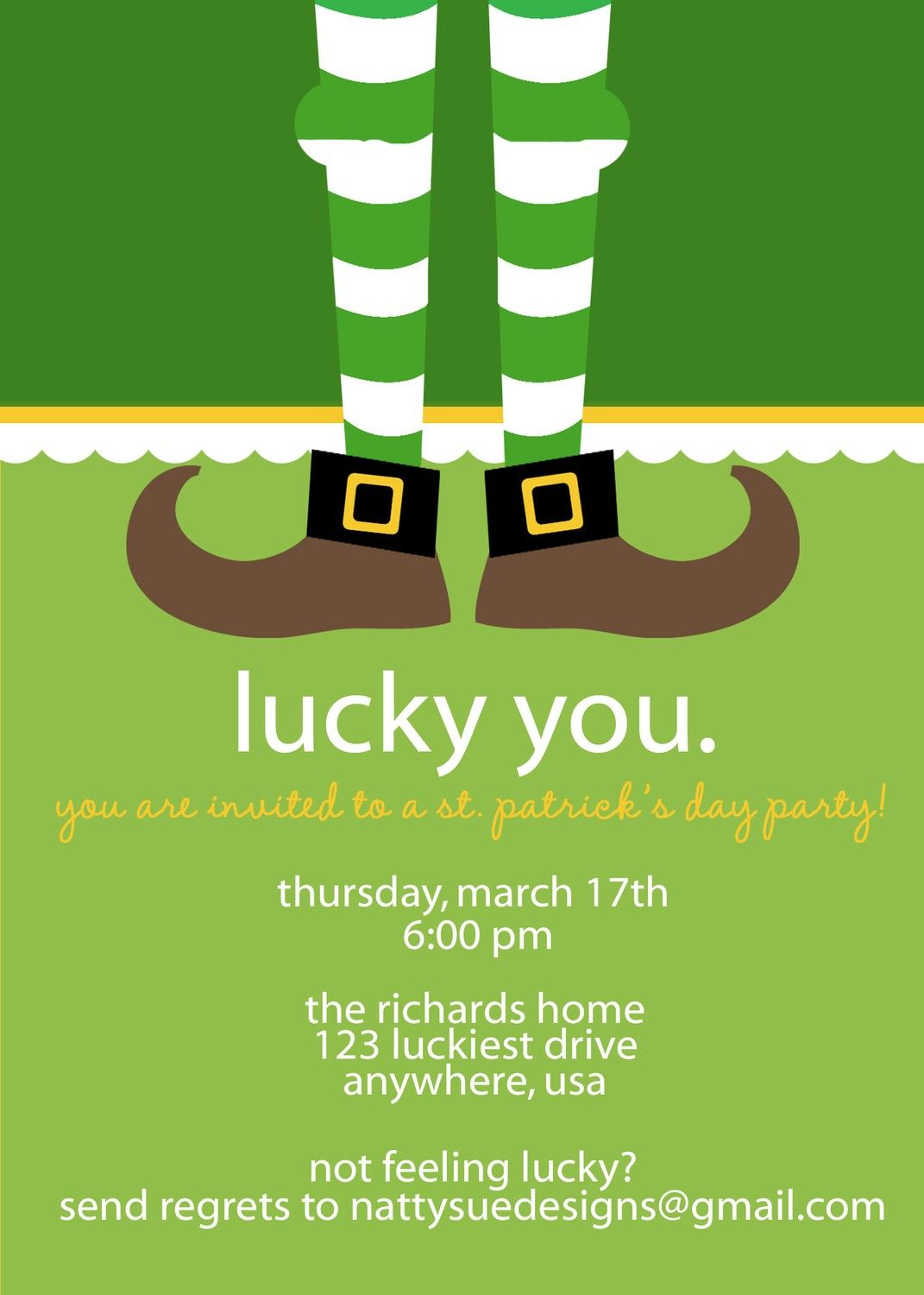Lucky St Patrick\'s Day Party Invitation by nattysuedesigns1 ...