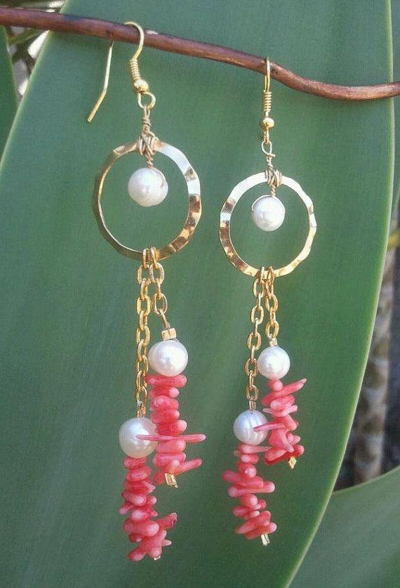 Hawaiian Pink CoralPearl Dangle Earrings by shandahawaiiandesign, $20.00
