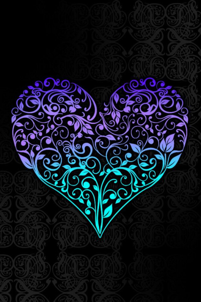 Silhuette heart in purple and turquoise on black - Heart to heart wallpaper ...