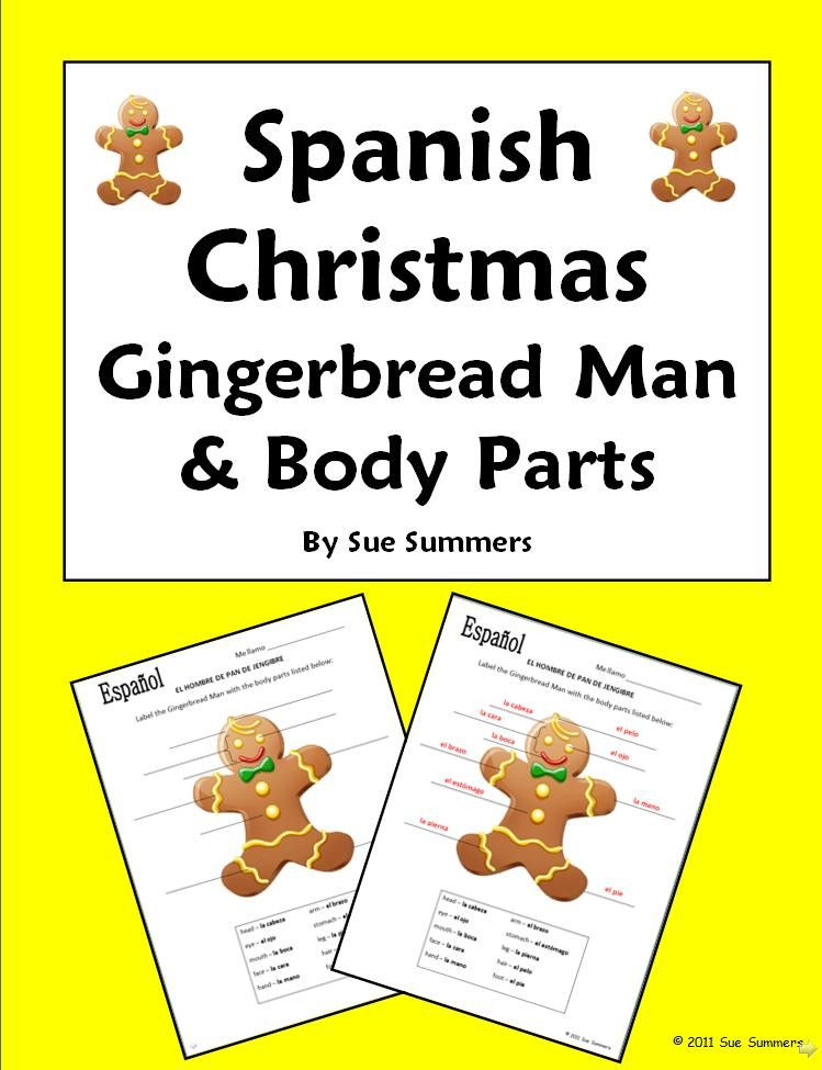 Spanish Christmas Gingerbread Man And Body Parts Labeling Activity