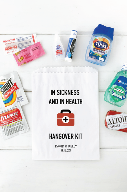 In Sickness And In Health Hangover Recovery Bags Wedding Favours Hangover Kit Wedding Recovery Kit Hangover Wedding Favors