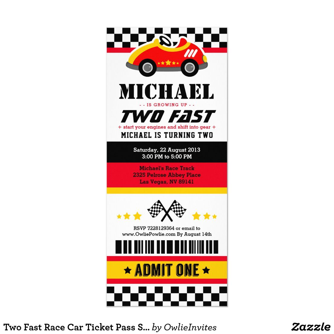 Two Fast Race Car Ticket Pass Second Birthday Invitation Zazzle Com In 2020 Cars Birthday Parties Car Birthday Party Invitations Race Car Party