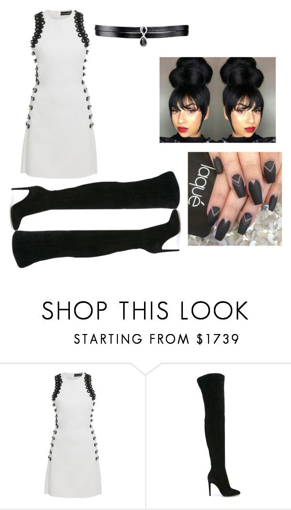 """""""Sleeveless Loop Mini Dress/Thigh High Boots"""" by freespirit1177 ❤ liked on Polyvore featuring David Koma, Gianvito Rossi and Fallon"""