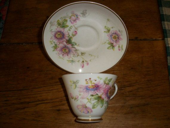 Vintage  Royal Doulton Cup and Saucer  Passion Flower Pattern  Symbol of Peace. Made in England. $16.00, via Etsy.