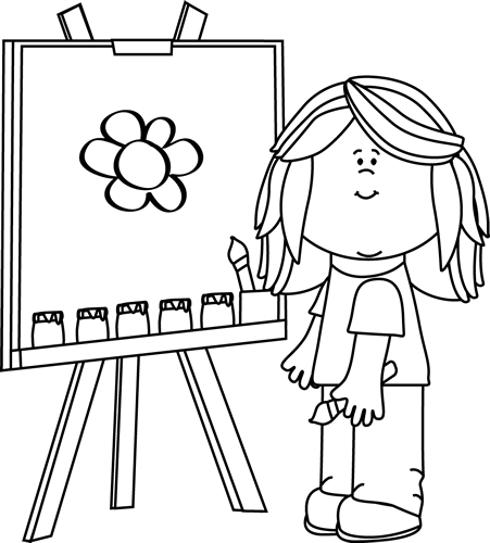 Drawings of girls white. Girl painting on easel