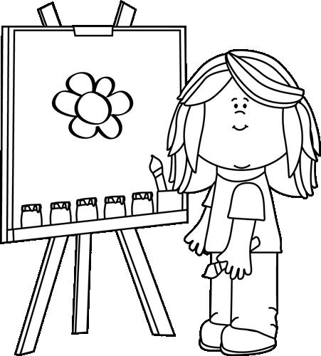 Clip Art Black And White Black And White Girl Painting On Easel Clip Art Black And White Girl Painting Of Girl Clip Art Black And White Girl